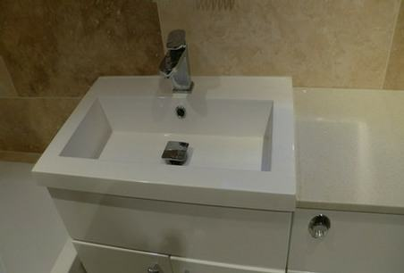 Mira shower bathroom with a square basin