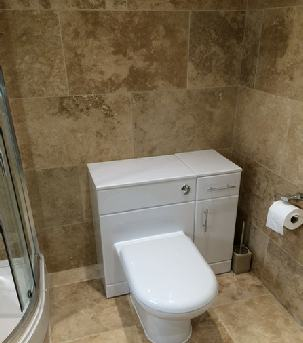 white gloss vaity units and toilet